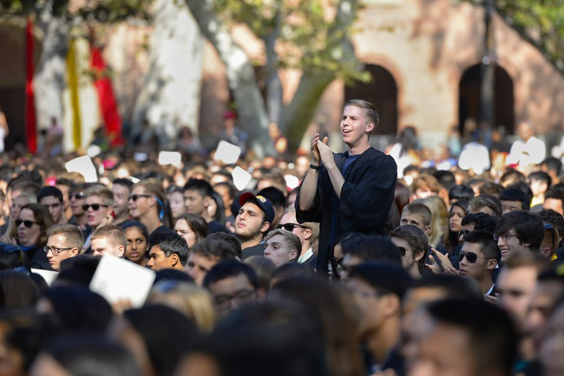 Incoming freshmen hear what it means to be part of the Trojan Family. (USC Photo/Gus Ruelas)