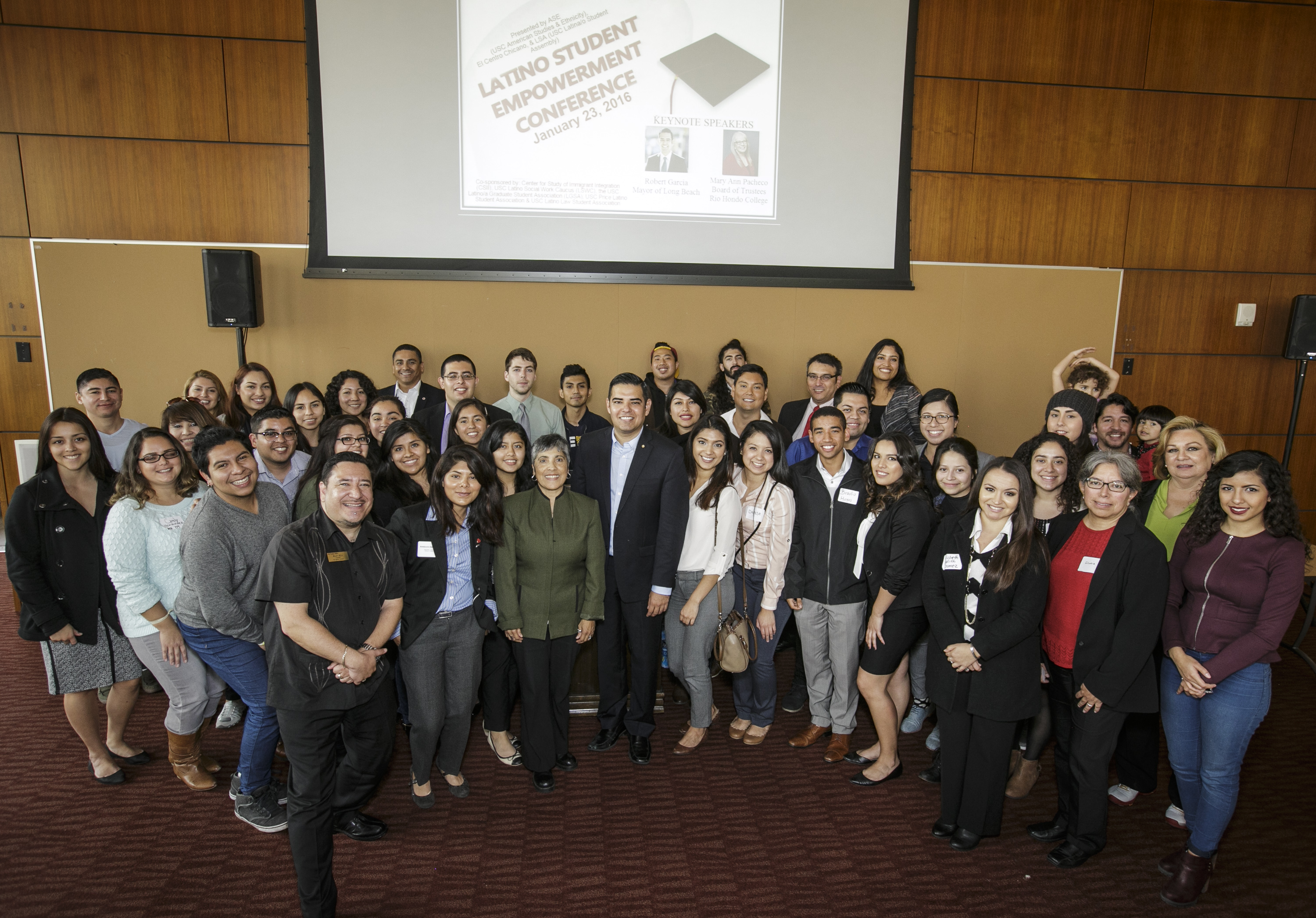 Posing at the end of the 5th Annual Latino Student Empowerment Conference Jan. 23 , 2016 at USC. Photo by David Sprague